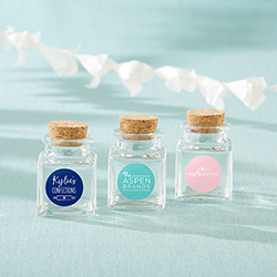 Personalized Petite Treat Square Glass Favor Jar - Custom Logo (Set of 12)