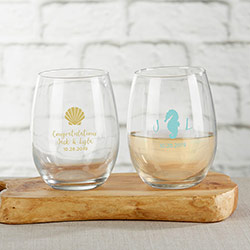 Personalized 9 oz. Stemless Wine Glass - Seaside Escape
