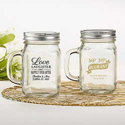 Personalized 12 oz. Mason Jar Mug - Wedding